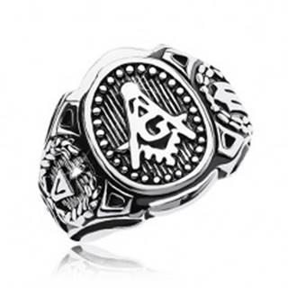 Prsteň z chirurgickej ocele, veľký ovál a symboly slobodomurárov - Veľkosť: 58 mm