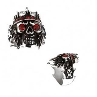 Prsteň z ocele 316L - lebka s korunou, červené zirkóny - Veľkosť: 59 mm