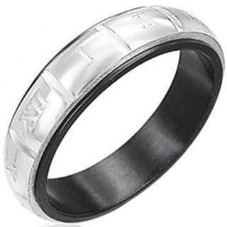 Prsteň z ocele - gravírované rímske číslice, strieborná a čierna farba - Veľkosť: 50 mm