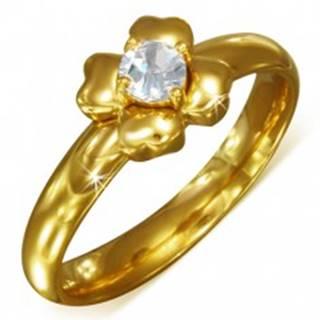 Prsteň zlatej farby z chirurgickej ocele s čírym zirkónom - kvet - Veľkosť: 52 mm