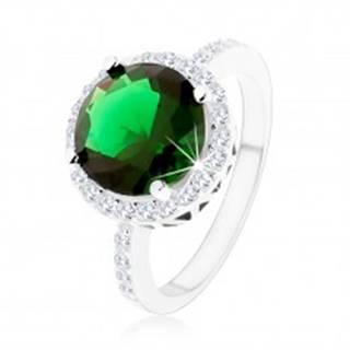 Prsteň zo striebra 925, okrúhly smaragdovozelený zirkón, číry zirkónový lem - Veľkosť: 49 mm