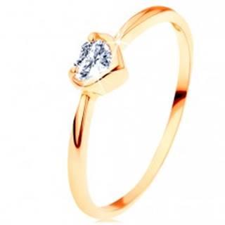 Prsteň zo žltého 14K zlata - číre zirkónové srdiečko s lesklým okrajom - Veľkosť: 50 mm