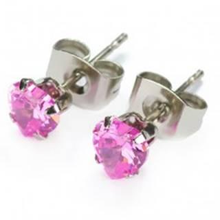 Puzetové náušnice - ružové zirkónové srdiečka - Veľkosť zirkónu: 4mm