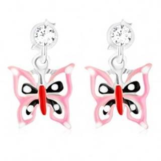 Puzetové náušnice - striebro 925, glazúrovaný ružovo-čierno-červený motýľ