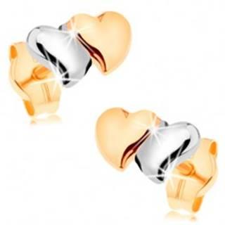 Puzetové náušnice zo 14K zlata - lesklé vypuklé srdiečka, dvojfarebné