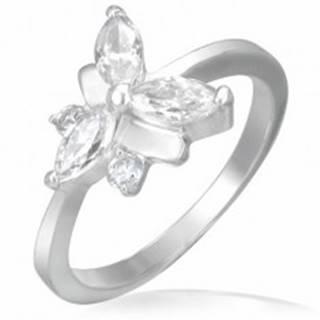 Snubný prsteň, oceľovo - zirkónový motýlik - Veľkosť: 48 mm