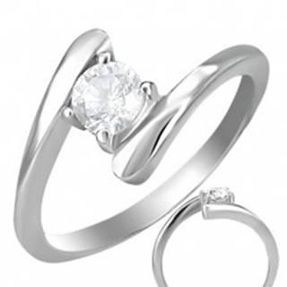 Snubný prsteň - okrúhly zirkón uchytený medzi koncami prsteňa - Veľkosť: 49 mm
