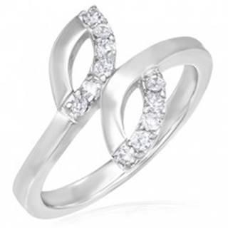 Snubný prsteň z ocele - dve slzičky, drobné zirkóny - Veľkosť: 49 mm