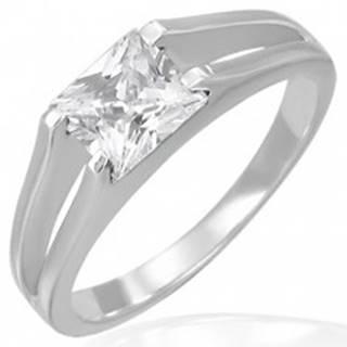 Snubný prsteň - zirkón štvorcový v úchyte dvojitých liniek - Veľkosť: 49 mm