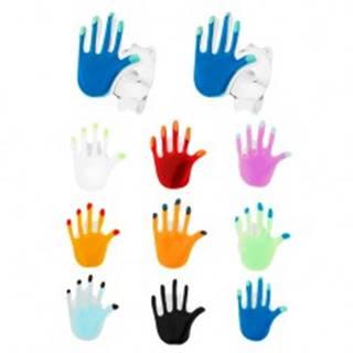 Strieborné 925 náušnice, farebná ruka s lesklým glazúrovaným povrchom - Farba: Biela
