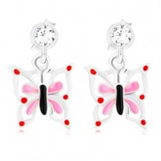 Strieborné 925 náušnice, glazúrovaný motýľ s bielo-ružovými krídlami, krištáľ