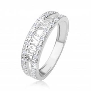 """Strieborný 925 prsteň - nápis """"I LOVE YOU"""", pásy čírych zirkónov - Veľkosť: 48 mm"""