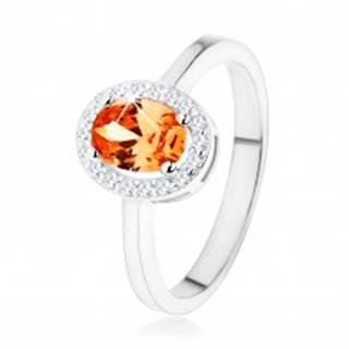 Strieborný prsteň 925, oranžový oválny zirkón, číry ligotavý lem - Veľkosť: 48 mm