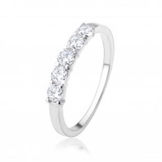 Strieborný zásnubný prsteň 925 - pás okrúhlych čírych zirkónov - Veľkosť: 48 mm
