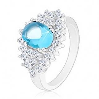 Trblietavý prsteň so svetlomodrým oválnym zirkónom, číra zirkónová obruba - Veľkosť: 48 mm