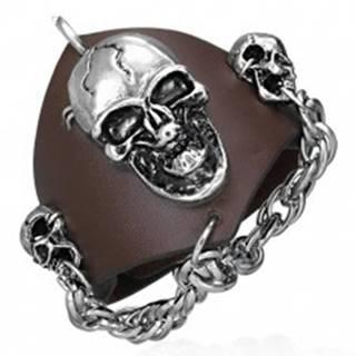 Vampírsky kožený náramok - reťaz s lebkami
