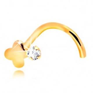 Zahnutý piercing do nosa, žlté 14K zlato, číry zirkón a lesklý krížik