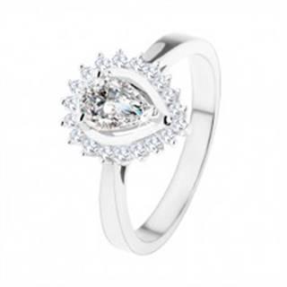 Zásnubný prsteň zo striebra 925, ligotavá kvapka z čírych zirkónov - Veľkosť: 49 mm
