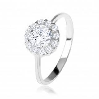 Zásnubný strieborný 925 prsteň, okrúhly číry zirkón, trblietavý lem - Veľkosť: 49 mm
