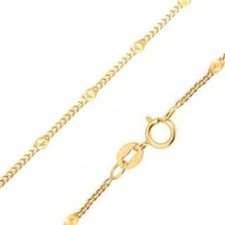 Zlatá retiazka 585 - drobné zarovnané oválne očká, elipsa s trojuholníkmi - Dĺžka: 425 mm