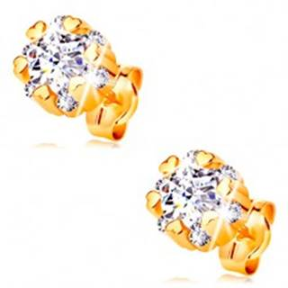 Zlaté 14K náušnice - žiarivý kvet čírej farby a drobné lesklé srdiečka
