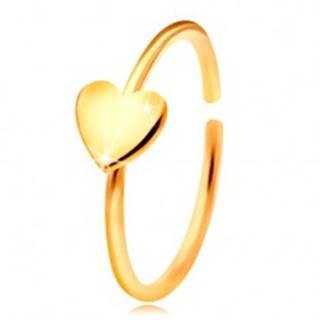 Zlatý 585 piercing do nosa, lesklý krúžok so srdiečkom, žlté zlato