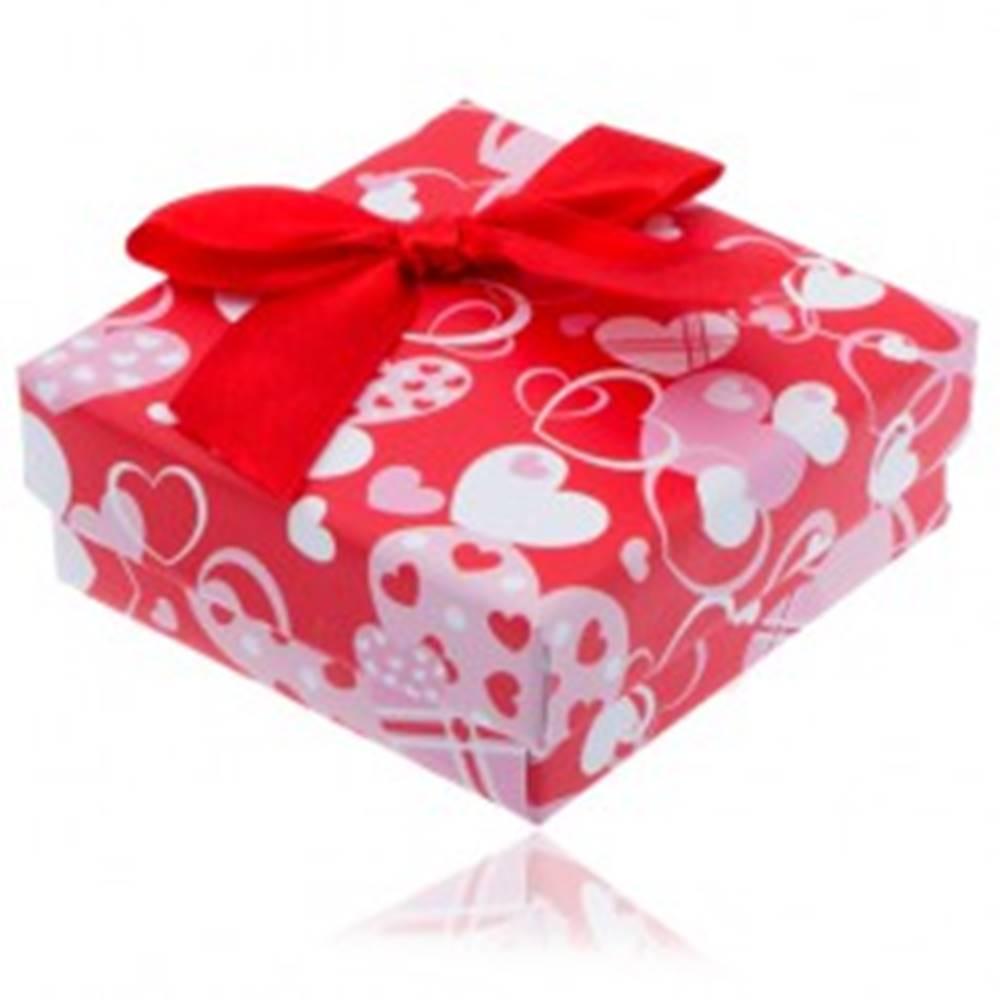 Šperky eshop Červená srdiečková krabička na náušnice s červenou mašľou
