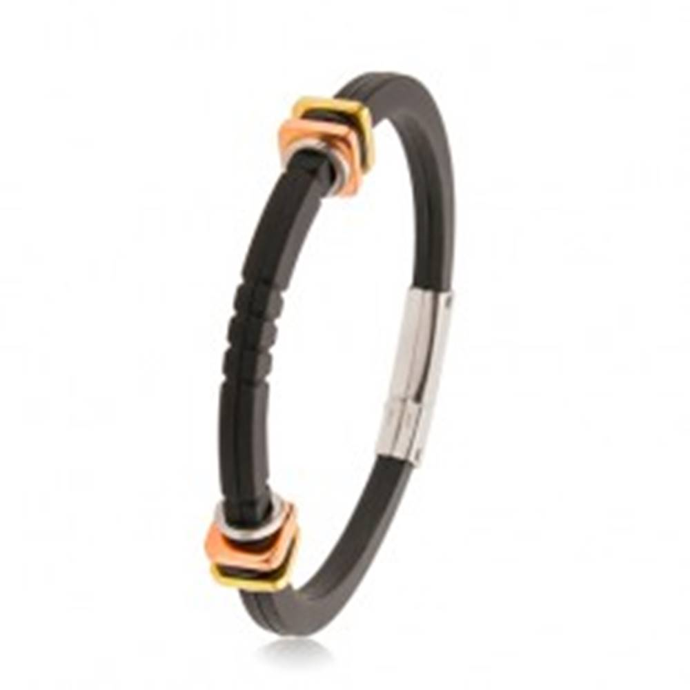 Šperky eshop Čierny gumený náramok, ozdobné zárezy, štvorce zlatej a medenej farby