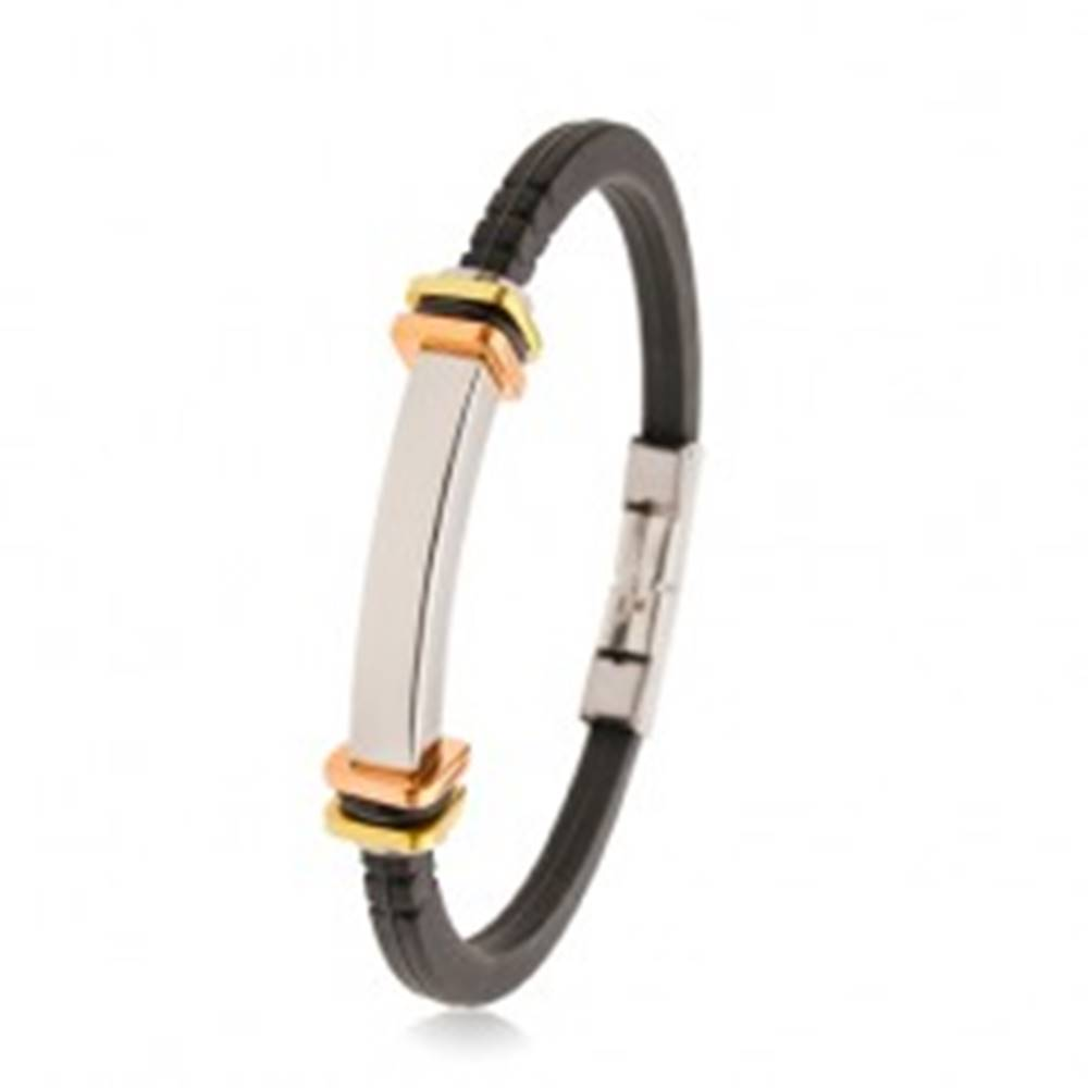 Šperky eshop Čierny gumený náramok so zárezmi, oceľová známka, dvojfarebné štvorce