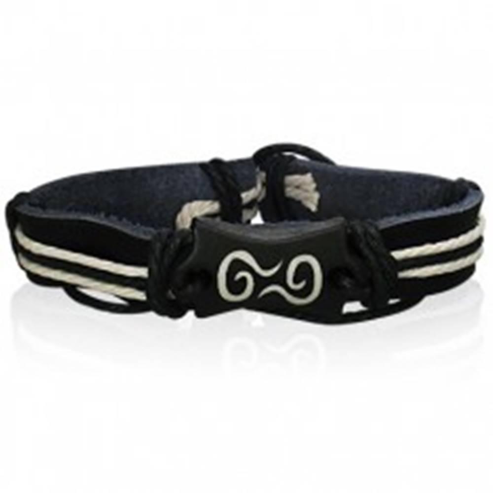 Šperky eshop Čierny kožený náramok - symbol špirál, šnúrky