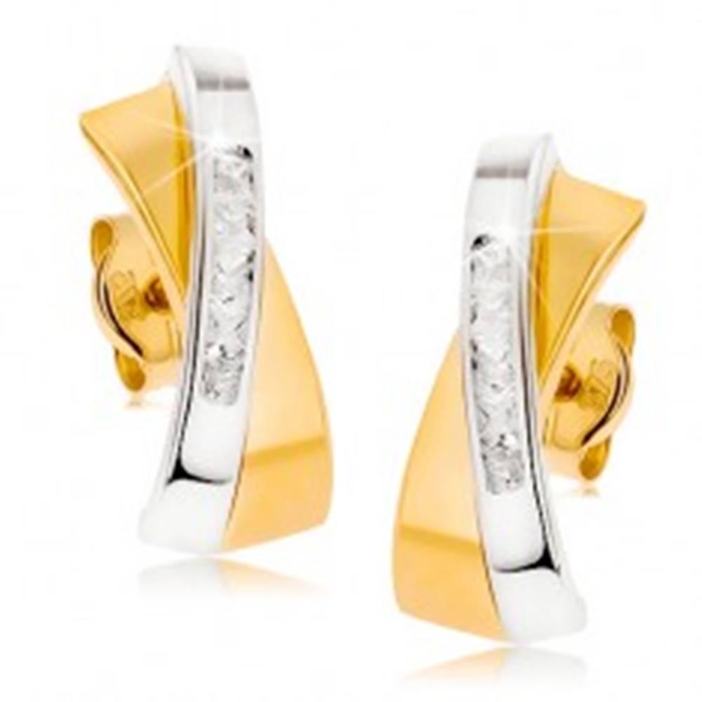 Šperky eshop Dvojfarebné zlaté náušnice 375 - dva prelínajúce sa oblúčiky, číra zirkónová línia