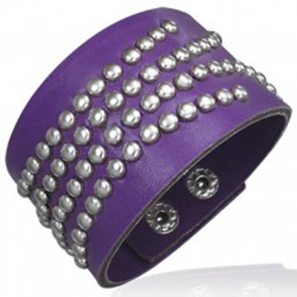 Šperky eshop Fialový náramok - imitácia kože, vybíjaný