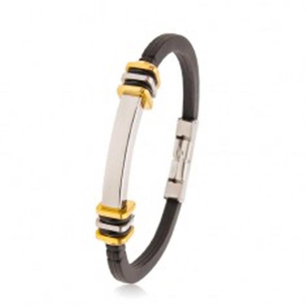 Šperky eshop Gumený náramok čiernej farby, oceľová známka, štvorce zlatej a striebornej farby