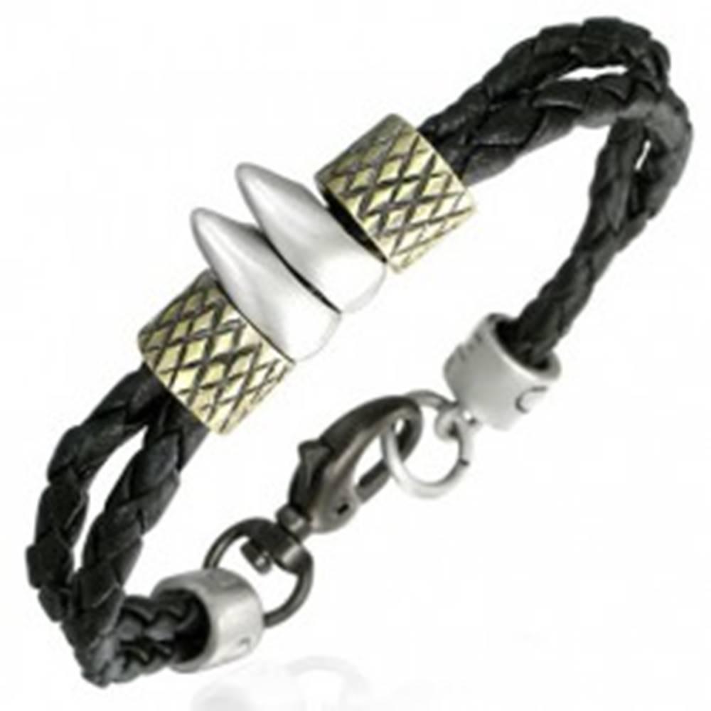 Šperky eshop Kaučukový náramok - dve šnúrky, zúbky, prstence