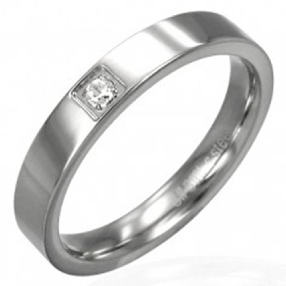 Šperky eshop Lesklá oceľová obrúčka - štvorcový zirkón - Veľkosť: 46 mm