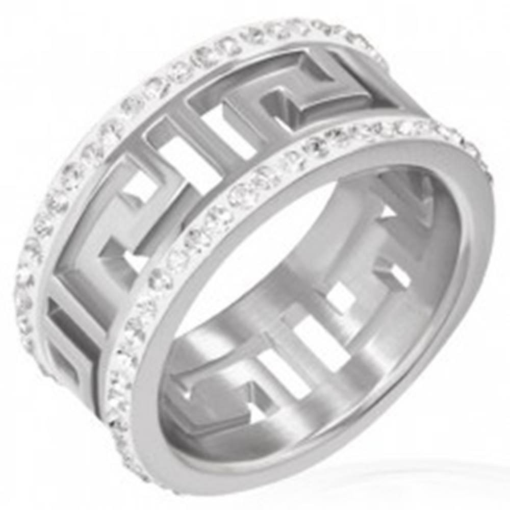 Šperky eshop Lesklý oceľový prsteň s výrezom - grécky symbol, žiarivé pásy - Veľkosť: 51 mm