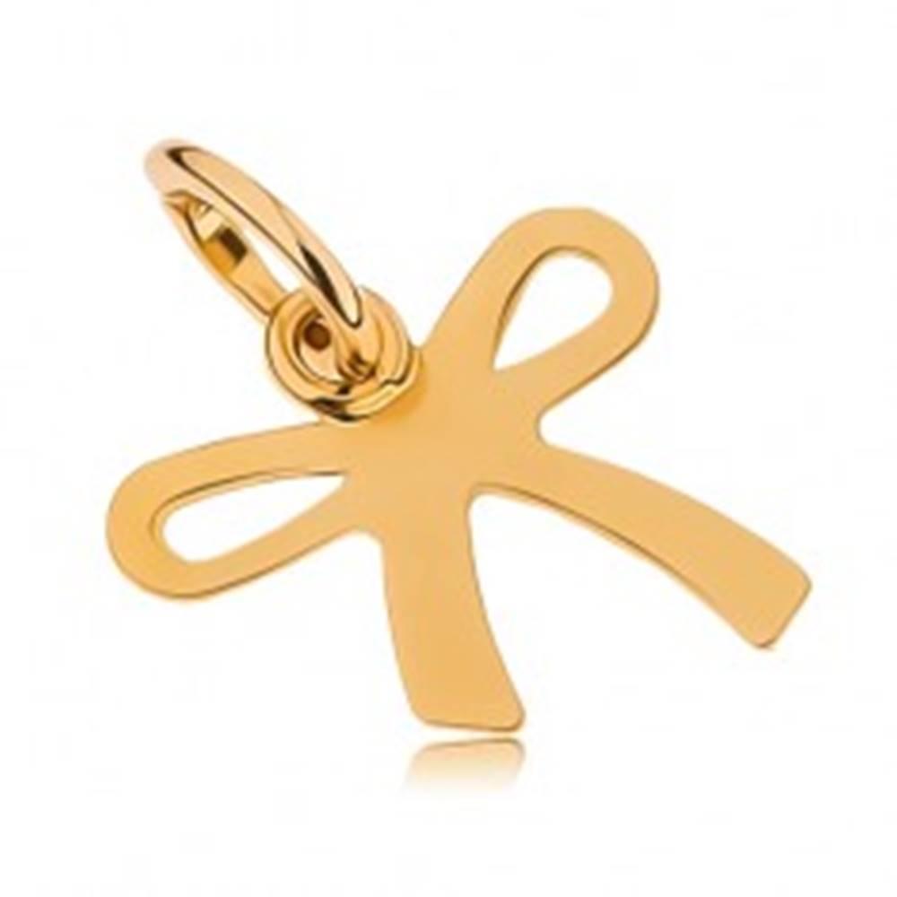 Šperky eshop Lesklý prívesok v žltom 9K zlate - plochá gravírovaná mašlička