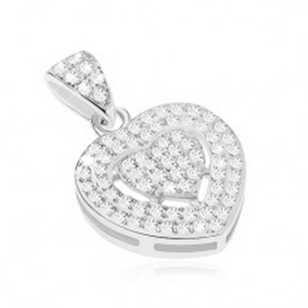 Šperky eshop Ligotavý prívesok zo striebra 925, zirkónové srdiečko čírej farby, srdcový výrez
