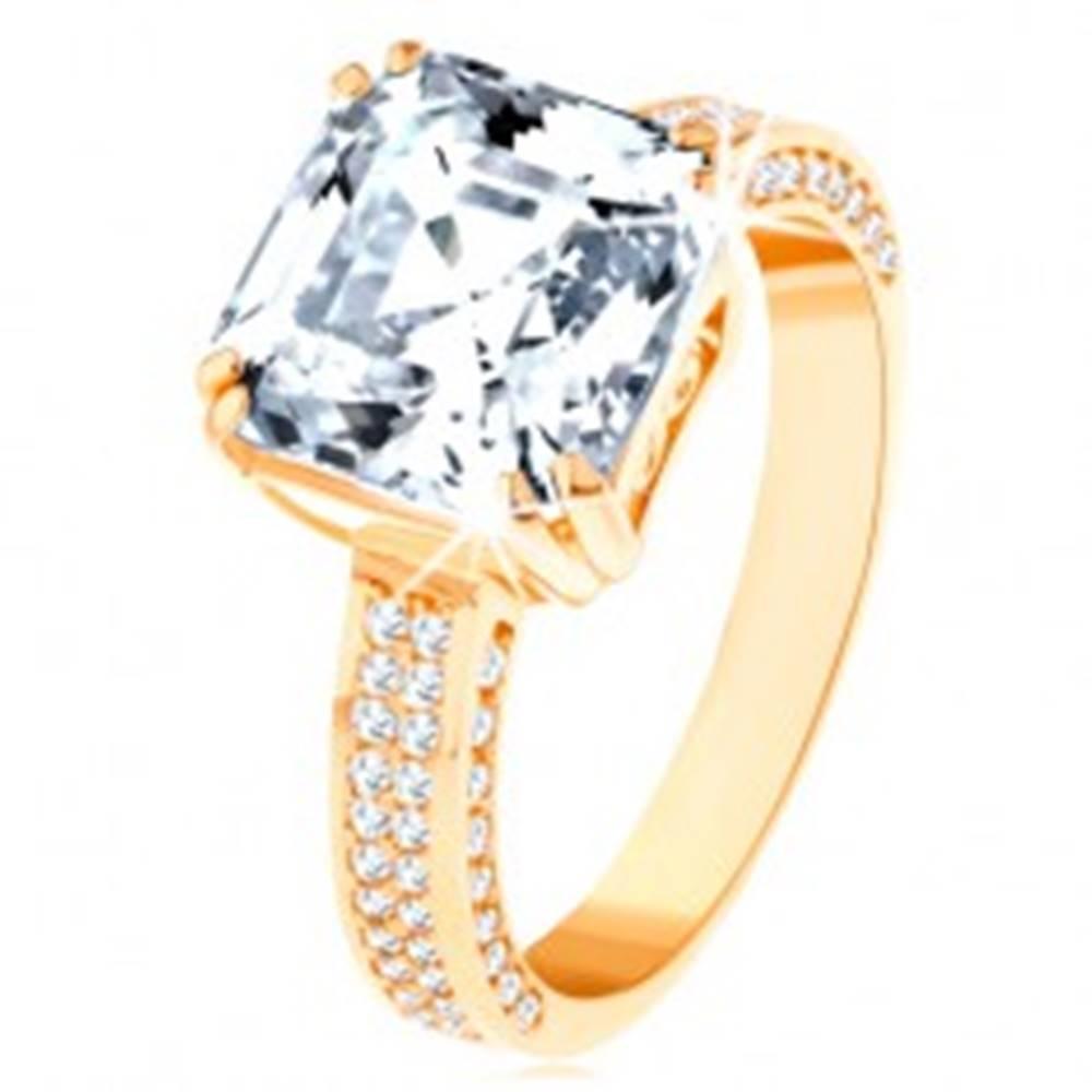 Šperky eshop Luxusný zlatý prsteň 585 - veľký brúsený zirkón v ozdobnom kotlíku, zirkónové línie - Veľkosť: 62 mm