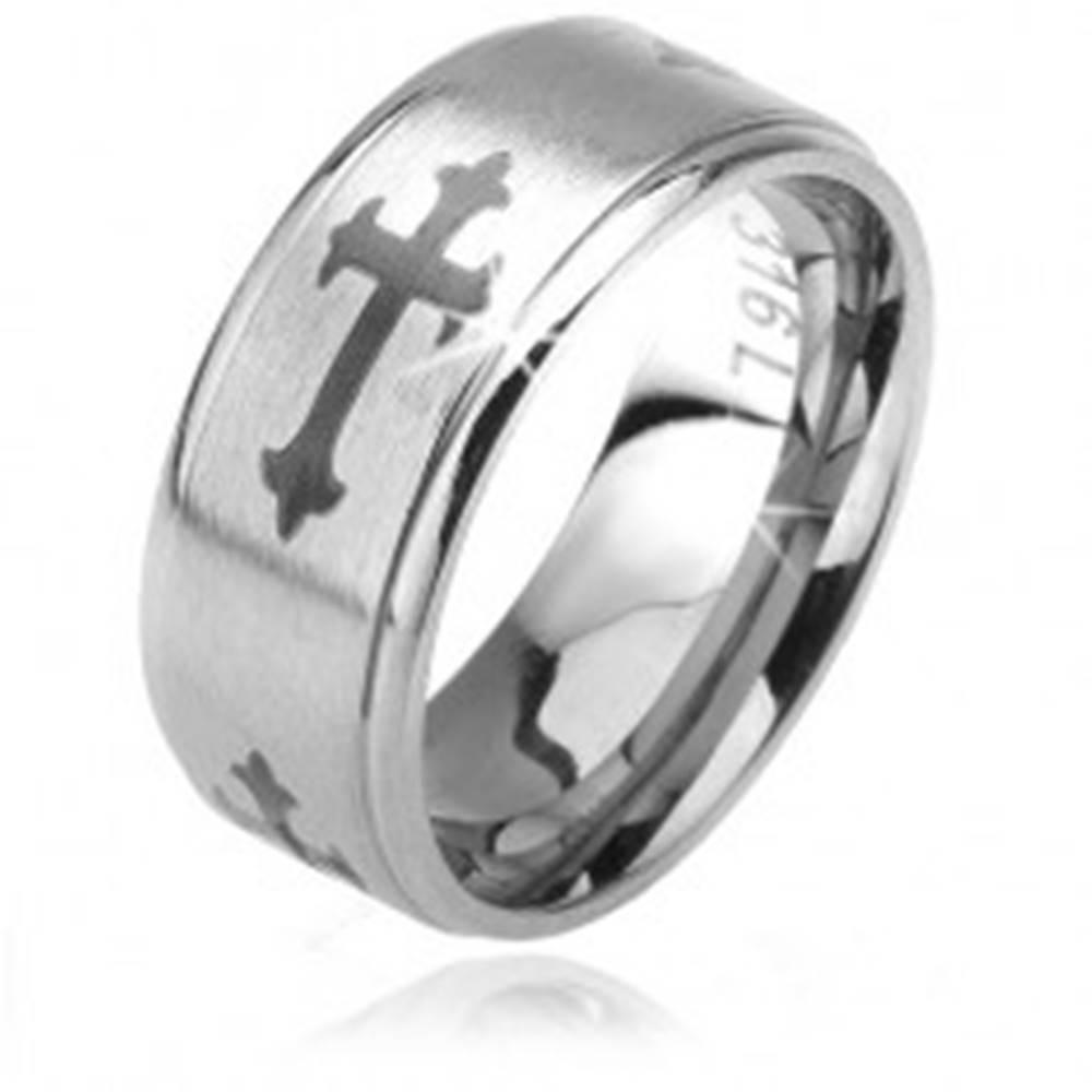 Šperky eshop Matná obrúčka z ocele 316L, ľaliové kríže, lesklé znížené okraje, 6 mm - Veľkosť: 52 mm