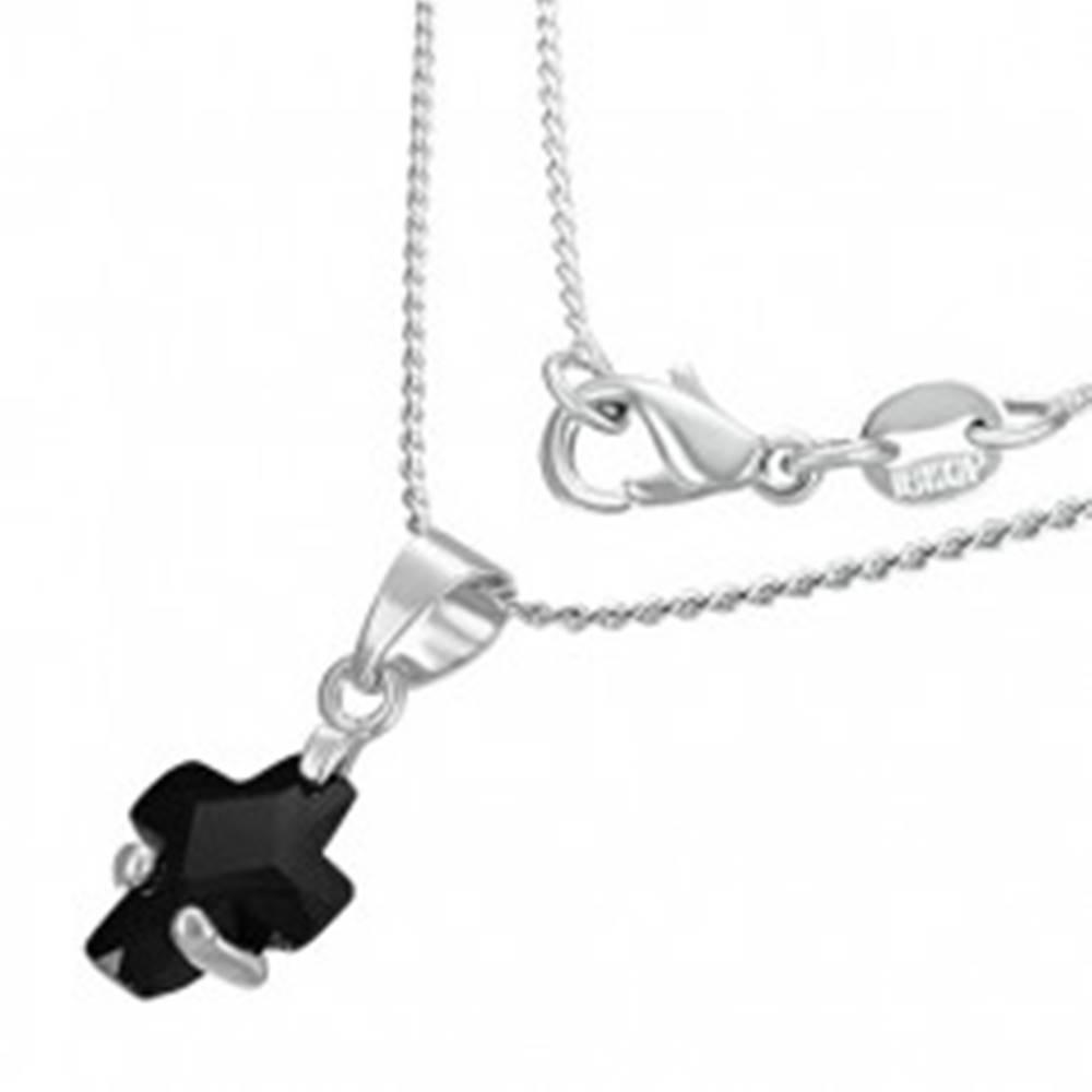 Šperky eshop Náhrdelník - čierny zirkónový krížik