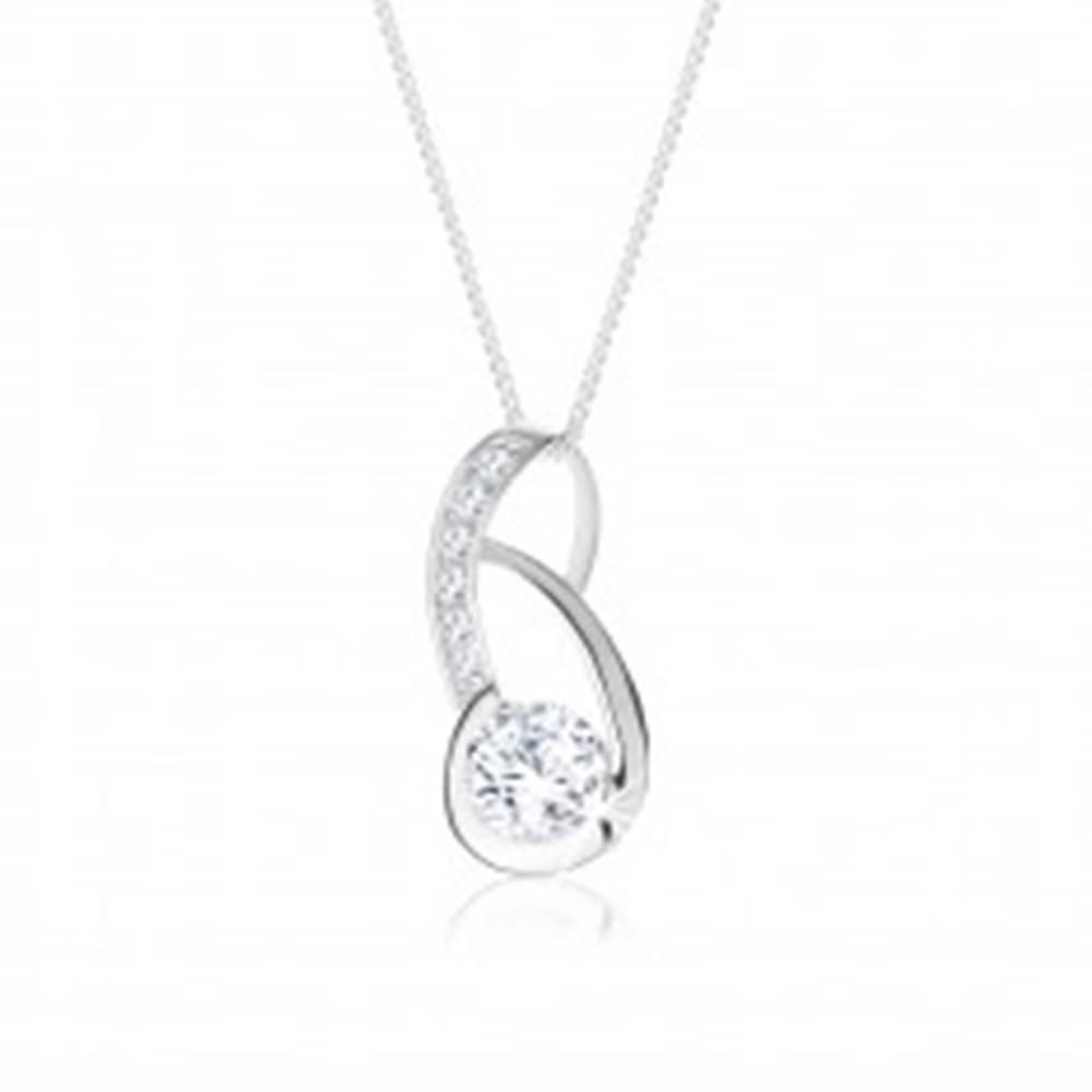 Šperky eshop Náhrdelník zo striebra 925, asymetrický obrys slzy zdobený čírymi zirkónmi