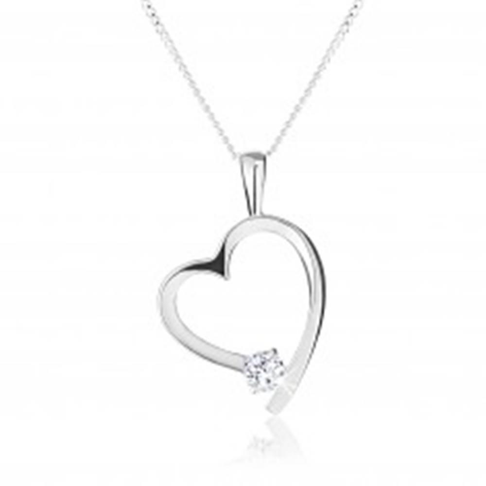 Šperky eshop Náhrdelník zo striebra 925, kontúra asymetrického srdca, okrúhly číry zirkón