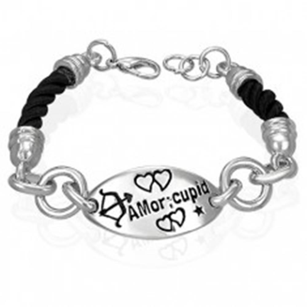 Šperky eshop Náramok so známkou - Amor cupid, točená šnúrka