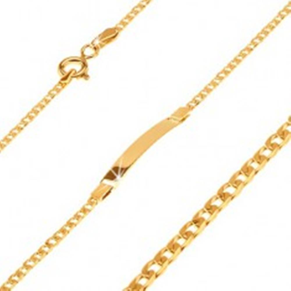 Šperky eshop Náramok v žltom 14K zlate s platničkou, oválne zarovnané malé očká, 160 mm