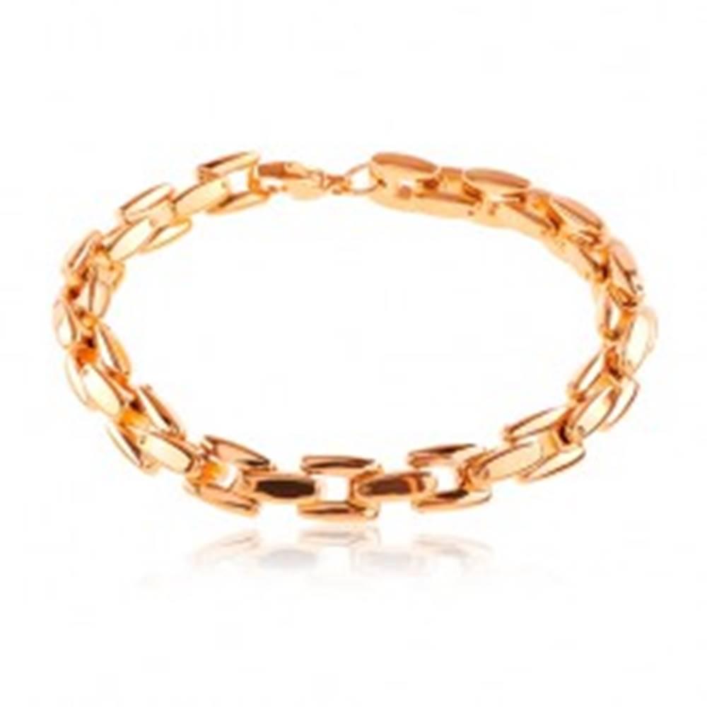 Šperky eshop Náramok z ocele 316L medenej farby, lesklá reťaz z hranatých článkov