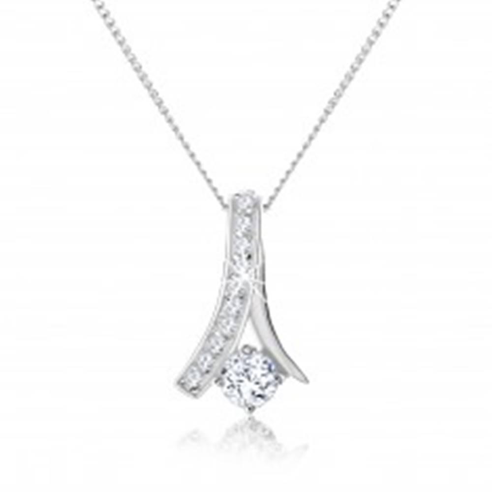 Šperky eshop Nastaviteľný náhrdelník, zahnutá zirkónová línia, okrúhly číry zirkón, striebro 925