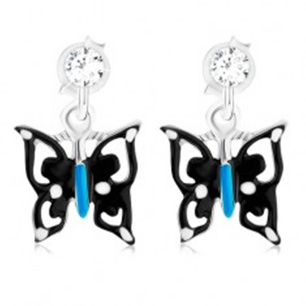 Šperky eshop Náušnice s čierno-modro-bielym motýľom, striebro 925, krištáľ