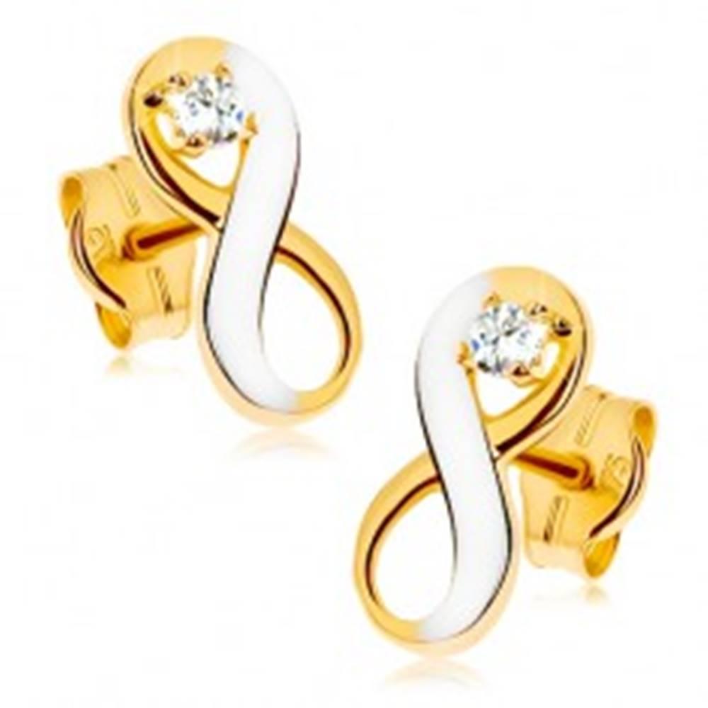 Šperky eshop Náušnice v 9K zlate - dvojfarebný symbol nekonečna s čírym zirkónom, ródiované