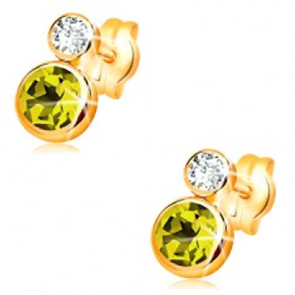 Šperky eshop Náušnice v žltom 14K zlate - okrúhly zelený olivín a číry zirkón